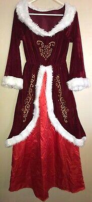 Mrs Claus Costume For Girls (girls 14/16 MRS CLAUS CHRISTMAS HALLOWEEN COSTUME DRESS fur trim LONG SLEEVE)