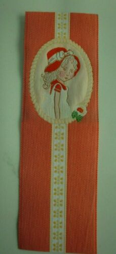 """Vintage Fabric Woven SILK? Bookmark  2"""" x 6"""" Little Girl  in Pink & Red Bonnet"""