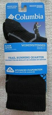 COLUMBIA Merino Wool 1pr Womens TRAIL RUNNING QUARTER socks Black shoe 4-10