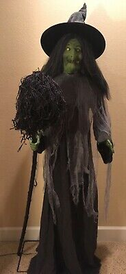 Gemmy Life Size Animated Witch With Broom Halloween Prop