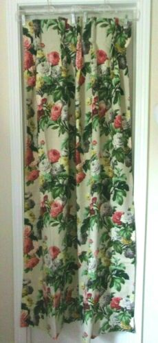 """VINTAGE 50S SAISON BARKCLOTH HAPPILY MARRIED FLORAL PINCH PLEAT CURTAINS 66"""""""