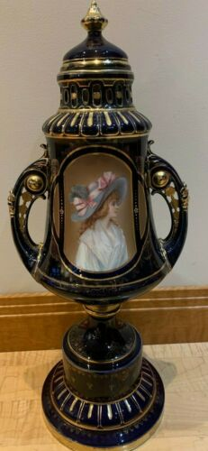 Antique Royal Vienna Lidded Porcelain Urn, Handpainted and Gilded