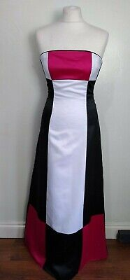 JESSICA MCCLINTOCK For GUNNE SAX Size 6-8 WHITE,PINK & BLACK Strapless GOWN