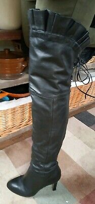 Kelsi Dagger Black Thigh Boots 7.5