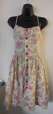 RALPH LAUREN RUGBY Cotton Floral Fit And Flare Button Dress ~ Women's 2 X-SMALL