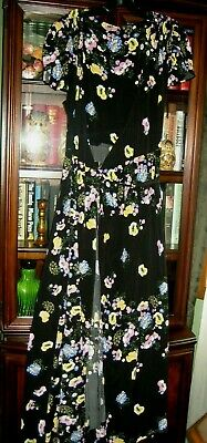 FREE PEOPLE LONG DRESS IN BLACK IN FLORAL PRINT WRAP-AROUND STYLE LARGE