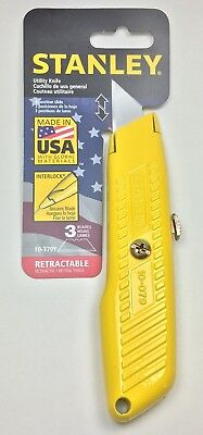 Stanley Utility Knife Interlock 3 Position Slide & Retractable Blade, Yellow