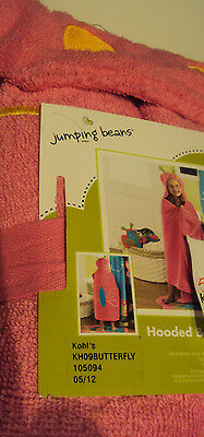 Jumping Beans Brand Pink Butterfly Hooded Bath Towel 100% Co