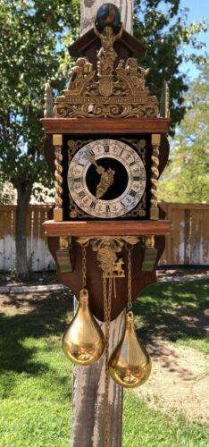 Zaanse Zaandam Wuba Warmink Vintage 8 Day Wall Clock Made in Holland