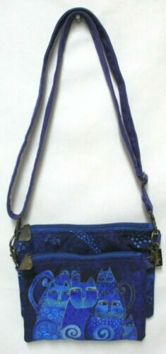LAUREL BURCH Crossbody Purse Cats Indigo Blue Feline Tribe Handbag Bag w/ pouch