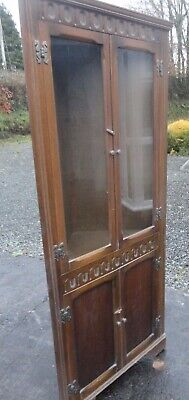 Vintage Corner Display Cabinet Arts and Crafts Carved Dark Wood Old Charm