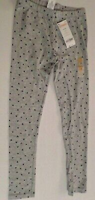 Gymboree Girls Cotton/Spandex Leggings Gray with Black Hearts Size Medium 7-8](Girls Heart Leggings)