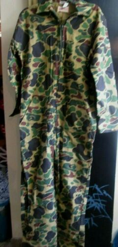 NEW VINTAGE SAFTBAK WATER REPELLENT CAMOUFLAGE HUNTING COVERALLS 100% COTTON