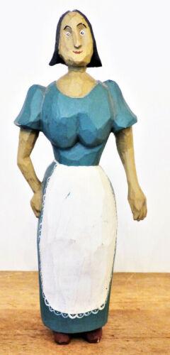 ARTISAN Signed LARRY KOOSED Folk Art WOOD Dated 1981 OHIO Carving LADY APRON #1