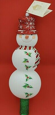 Patricia Breen Snowy Topper Finial Red Snowman Glittered Christmas Tree Topper