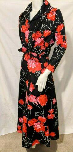 Vtg 60s Handmade Hawaiian Maxi Floral Dress & Matching Jacket Set black Red