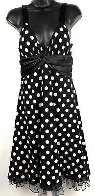's black party dress Large  A-line tan polka dots tulle hem (Party City Line)
