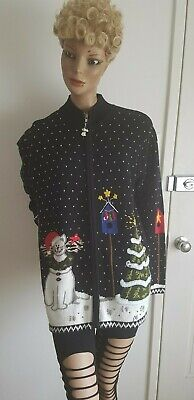 QUACKER FACTORY Xmas Zip Front Cardigan with Snow Cats & Xmas Tree Size L