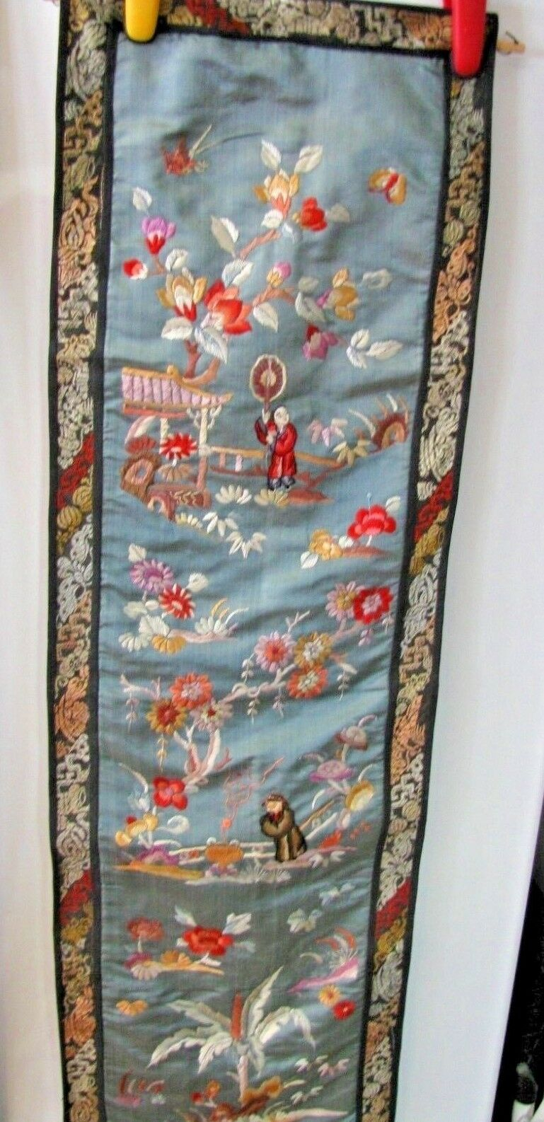 GORGEOUS ANTIQUE ASIAN TEXTILE WALL HANGING-EMBROIDERED - $129.99
