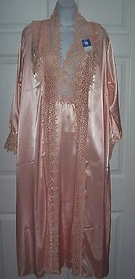 Women's Exotic Small Medium Pretty Robe & Night Gown Peach Embroidery Trim New