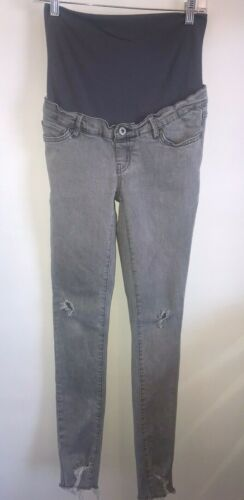 Supermom Distressed Skinny Full Belly Adjustable Waist Maternity Jeans Size 27