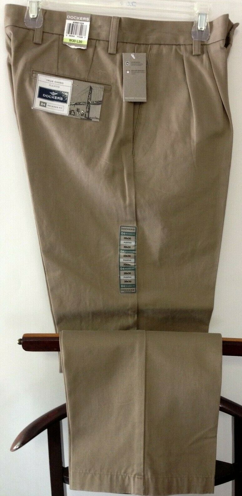 NEW DOCKERS Men's True Chino Casual Pants Relaxed Fit Plea
