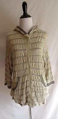(Anthropologie Tiny Small Beige Snap Front Lightweight Jacket Hoodie Stripe Shirt)