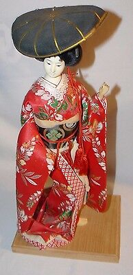 """Vintage Japanese Geisha Doll Display Porcelain Hat on Stand 17 Inches 17"""" Great!"""