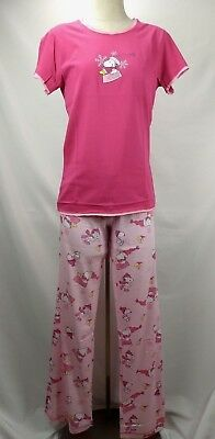 Peanuts Charlie Brown Snoopy Woodstock Pajamas Set Womens Size Large Pink -