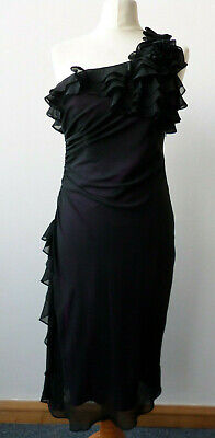 Pearce Fionda Black Cocktail Evening Party Chiffon Style Dress UK 8