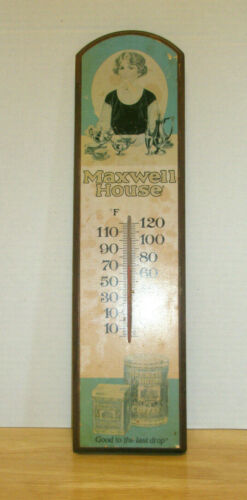 """Vintage MAXWELL HOUSE THERMOMETER Wall Hanging Advertising 18"""" Wooden"""