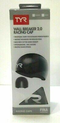 **NEW** TYR Wall Breaker 2.0 Racing Cap Men's Swimming Cap Black (Mens Swim Cap Large)