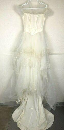 Vintage Wedding Dress Maurer Original 1950 Train Buttons Lace Tiered Ivory Satin
