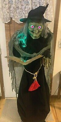 Spell Speaking WITCH ANIMATED Prop Halloween Life sized Haunted House 6' tall