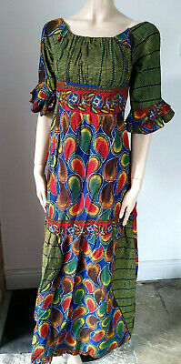 Handmade Traditional African Ankara Gown Long Dress Empire Fit & Flare maxi XS S for sale  Shipping to Nigeria