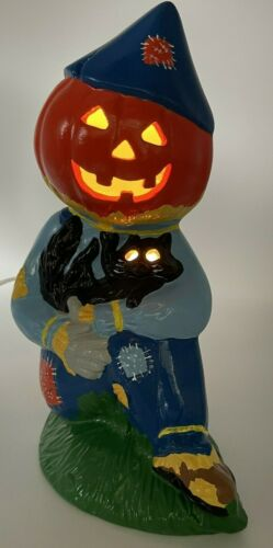 Vintage Halloween PUMPKIN JACK O LANTERN Head SCARECROW Ceramic Lamp Light Cat