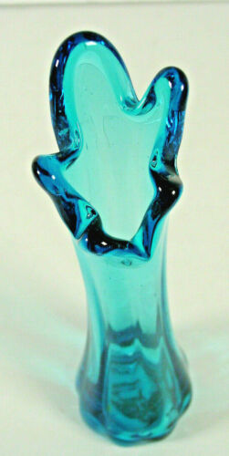 """Stretch swung vase hand blown Colonial Blue 9 1/4"""" READ"""