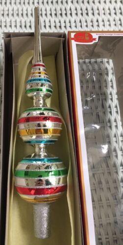 Old World Tree Topper Top Spire Glass Striped Glitter Silver Kurt Adler finial