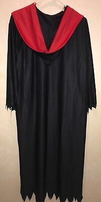 boys size LARGE BLACK ROBE HALLOWEEN COSTUME RED JAGGED COLLAR 1 PC GOWN GROSS!