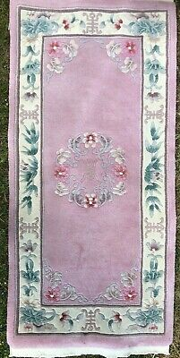 Vintage Chinese Oriental Wool Rug 27 X 55 Inches Flowers On Pink.Ground