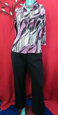 Gerry Weber pink mix crinkle shirt & J.Jill black stretch 96% Wool trousers UK18