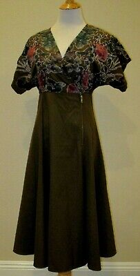 Anthropologie Hemant & Nandita Candida Velvet Trim Floral Midi Dress -Size 4-EUC