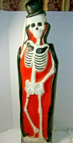 Union Products Halloween Blow Mold Yard Decoration Lighted Skeleton w/ Tombstone
