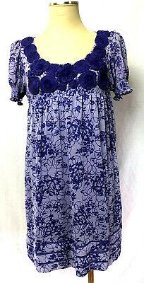 ECI New York Purple Empire Waist Dress Rosettes Sz 6