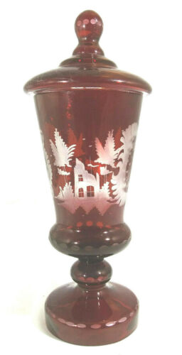 Egermann Bohemian Glass Red Cut to Clear Stag & Castle Lidded Candy Jar