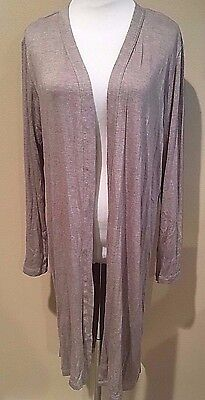 NWT Womens Oatmeal Tan Long Sleeve Ellen Tracy Long Open Cardigan Sweater Medium
