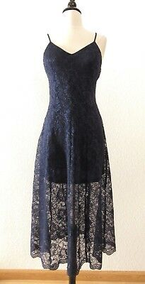 Anthropologie Maxi Dress New Size Large Lace Navy Blue Date Classy Holiday - Classy Holiday Dresses