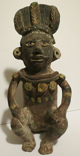 "ARTIFACT PRE COLUMBIAN MAYAN CLAY STATUE 12 1/1"" TALL"