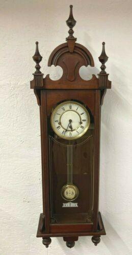 Vintage New Haven Wall Clock Mahogany Case Time & Strike Runs & Strikes