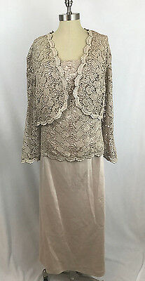 NWT R & M Richards Women's 24W Champagne Formal Jacket Dress Lace Crochet Gown